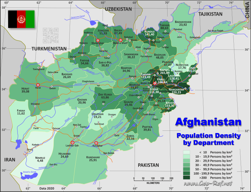 Map Afghanistan - Administrative division - Population density 2020