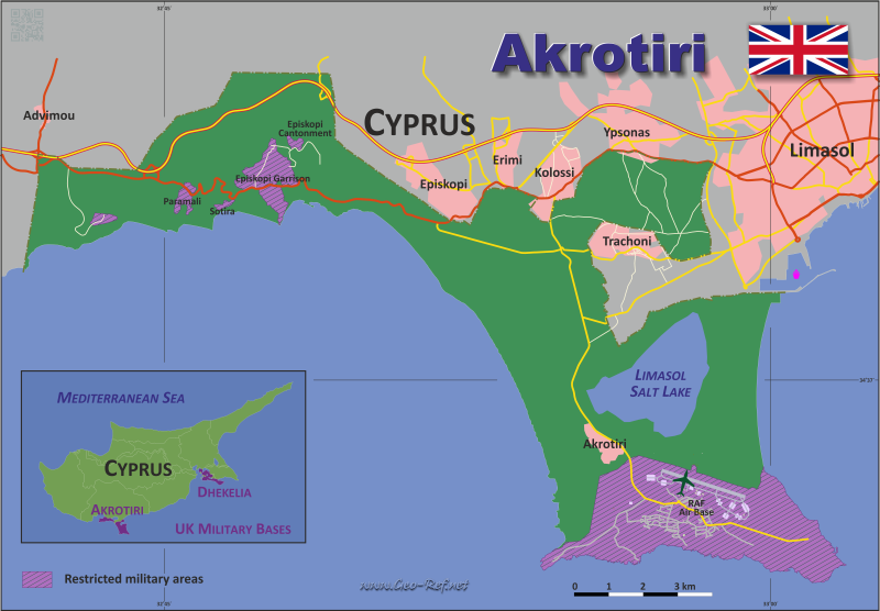 Map Akrotiri - Administrative division - Population density 2016