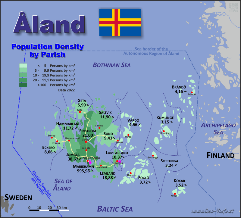 Åland Island Country Data Links And Maps Of The Population - Aland islands political map