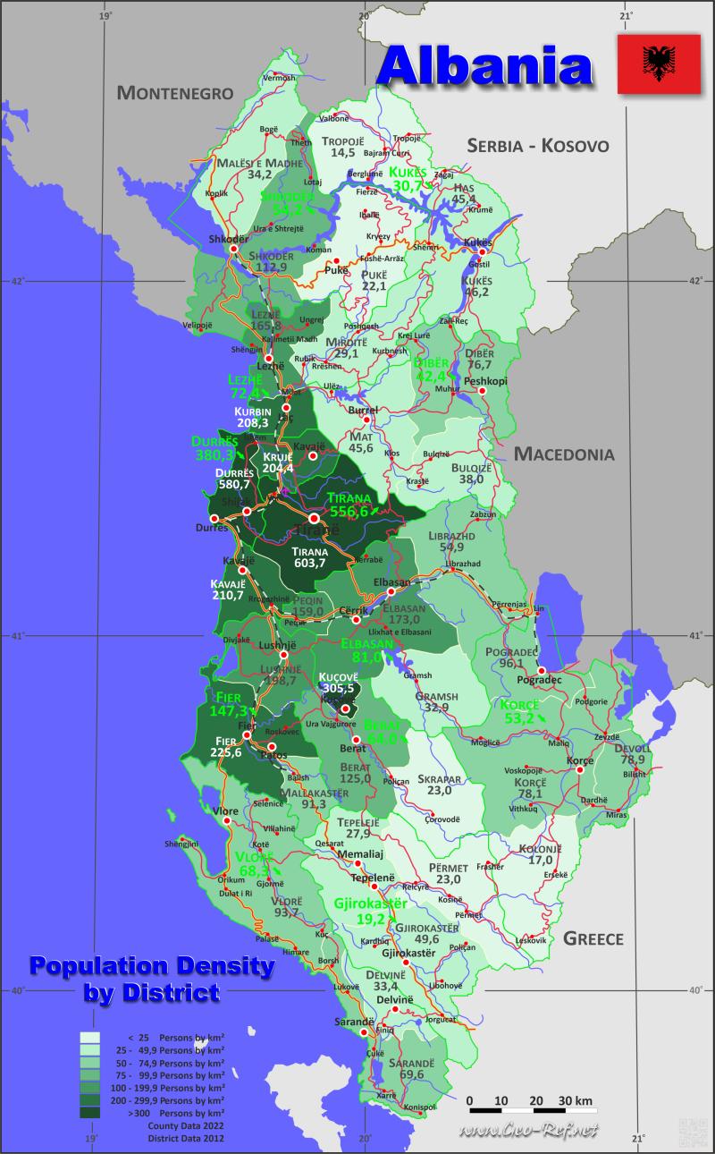 Karte Albanien.Albanien Karte Bevölkerungsdichte Und Verwaltungsgliederung
