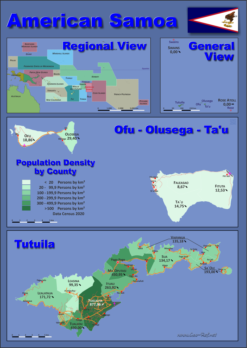 American Samoa Country data, links and map by administrative structure