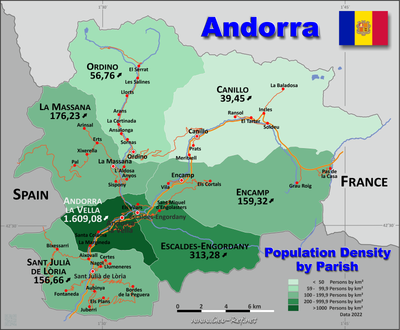 Andorra Country data links and maps of the population density by