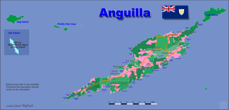 Map Anguilla - Population density
