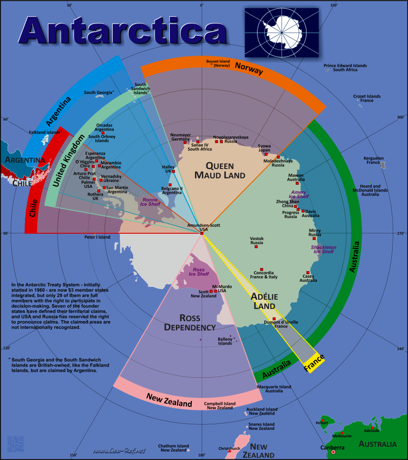 Antarctica Country data links and maps of the population density by
