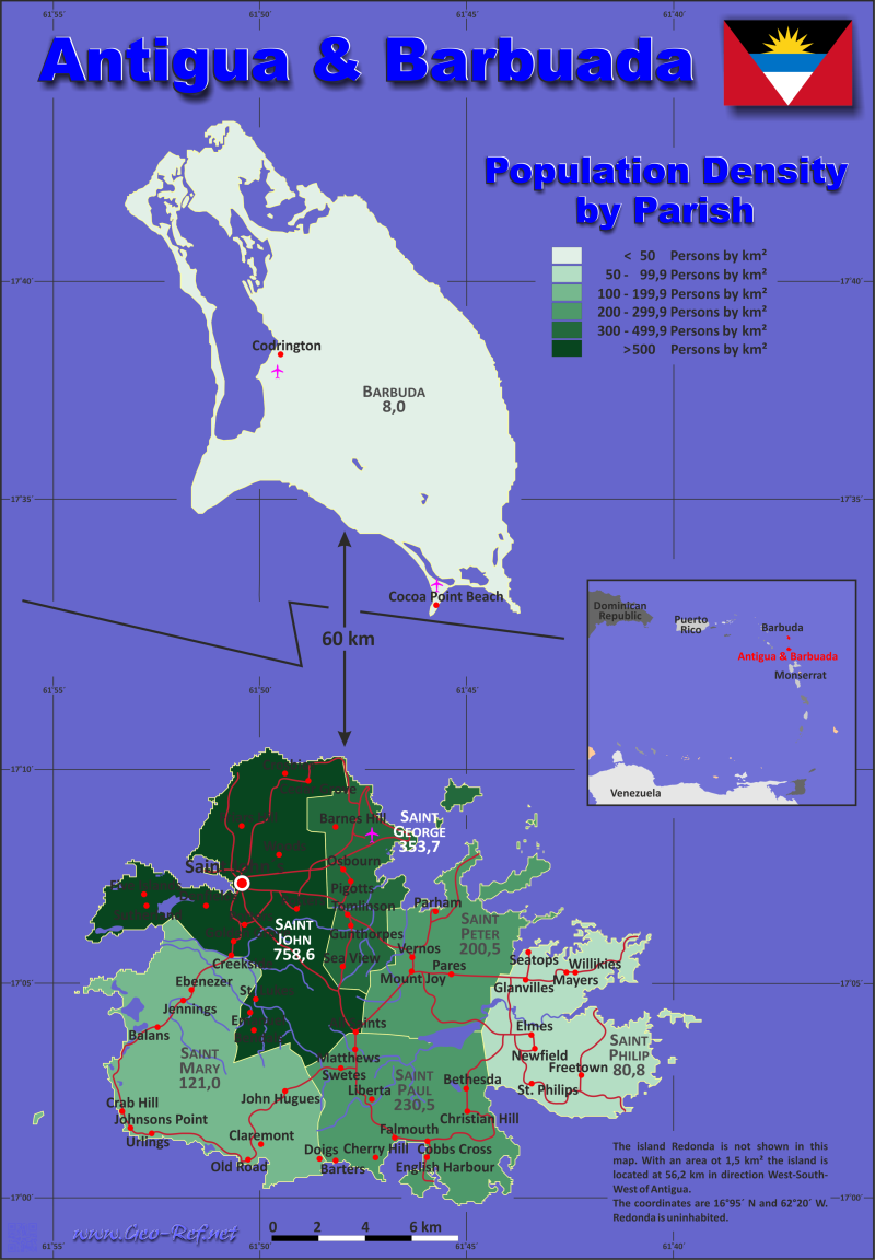Map Antigua & Barbuda - Population density