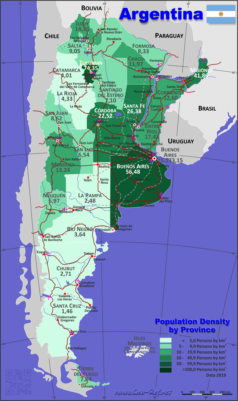 Map Argentina - Administrative division - Population density 2019