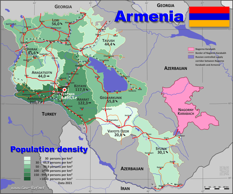 Armenia Country data, links and map by administrative structure