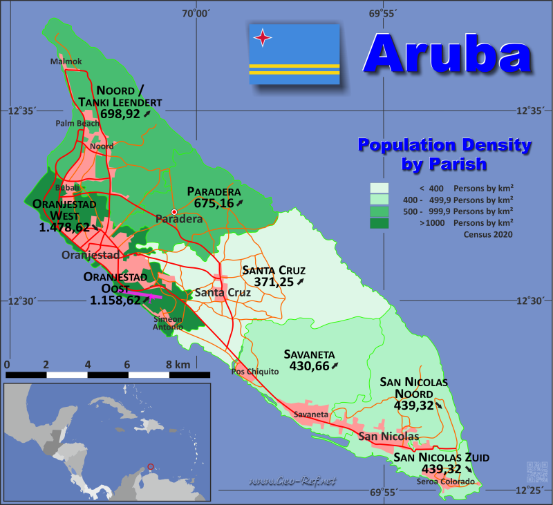 Aruba country data links and maps of the population density by map aruba population density publicscrutiny Choice Image