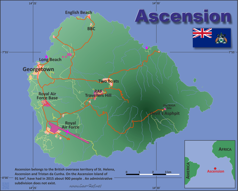 Ascension Island Country data links and maps of the population