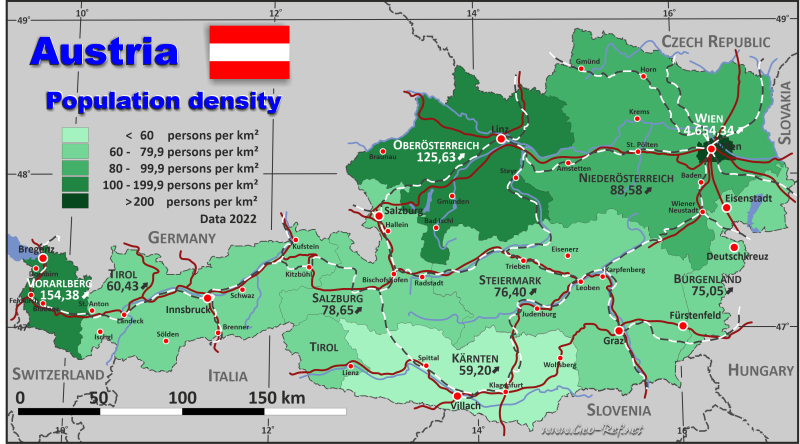 Map Austria Popultion density by administrative division
