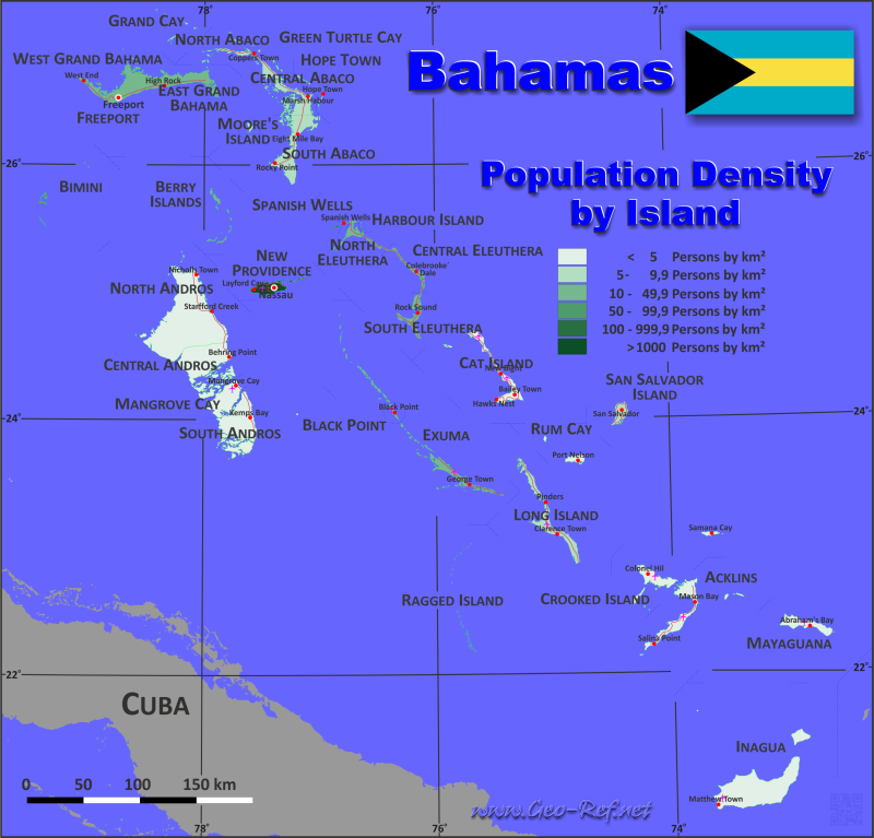 Bahamas Country data links and maps of the population density by