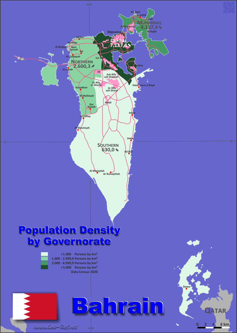 Map Bahrain - Administrative division - Population density 2018