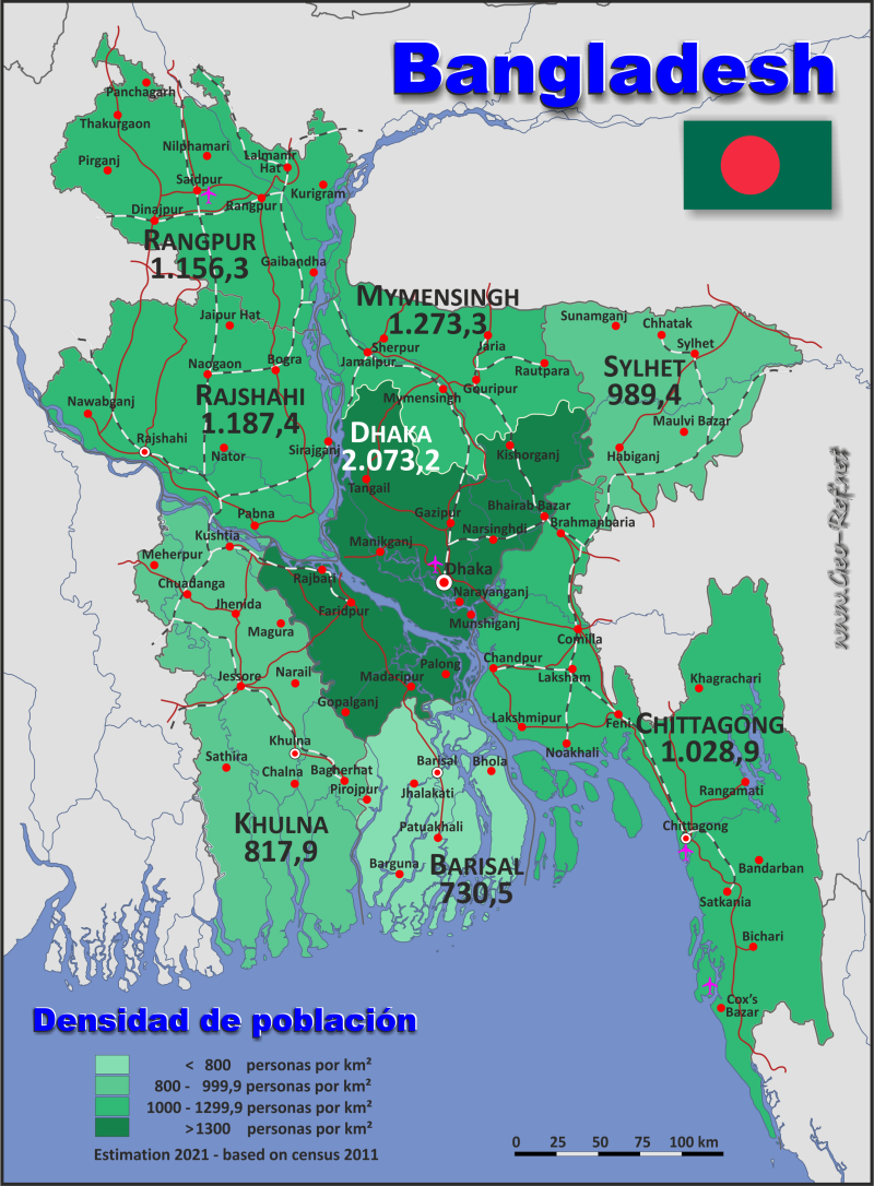 Map Bangladesh - Administrative division - Population density 2016