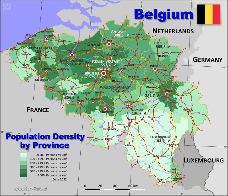 Map Belgium - Administrative division - Population density 2020