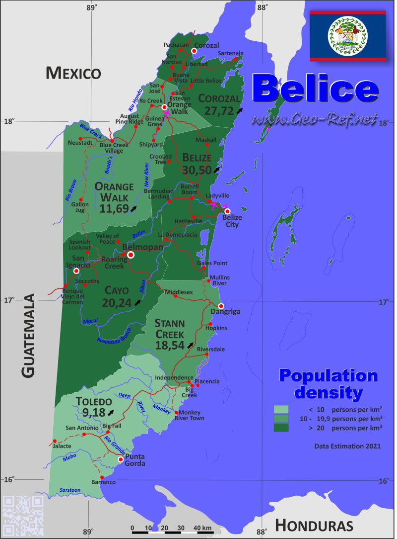Map Belize - Administrative division - Population density 2019