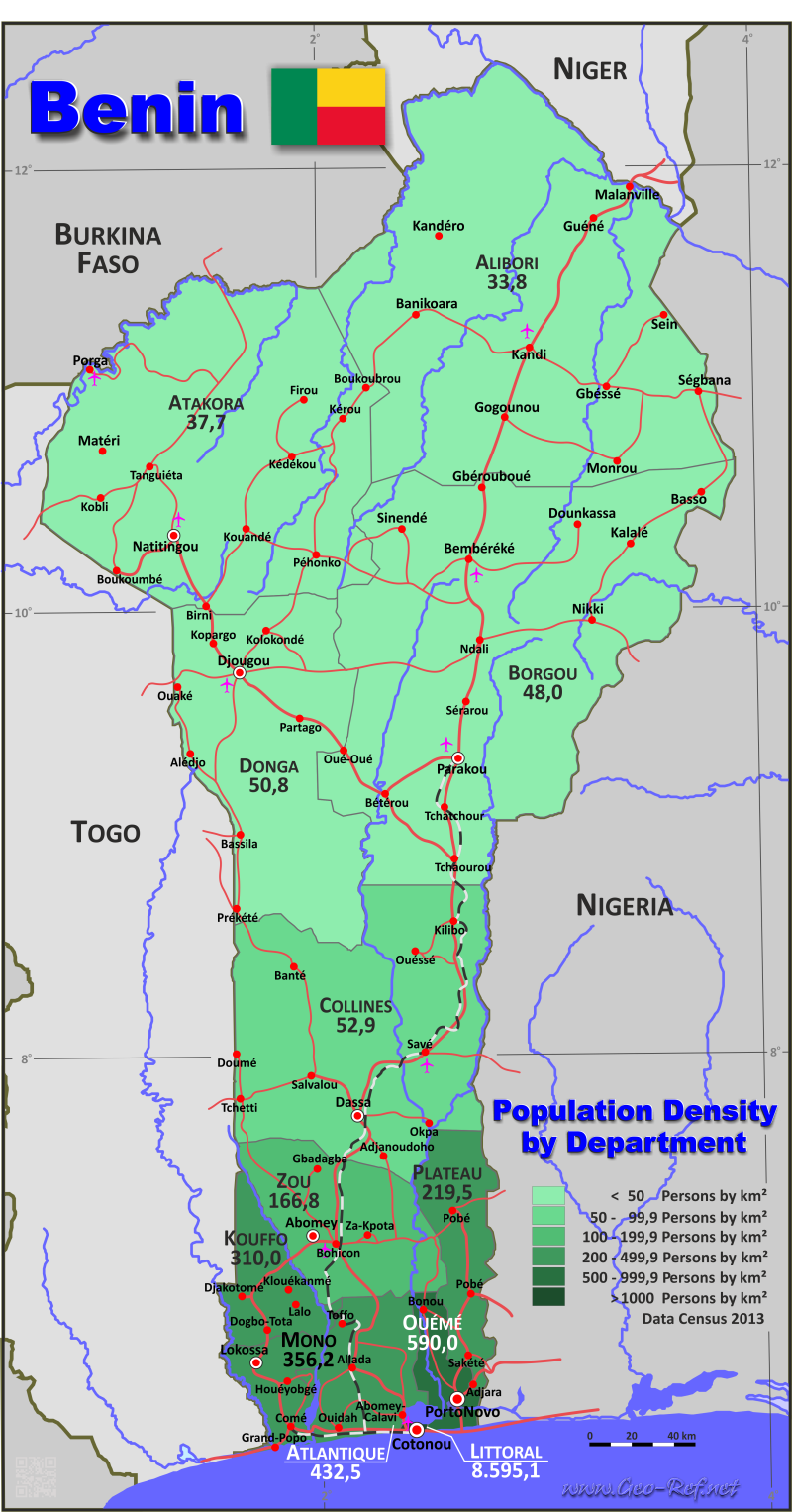 Map Benin - Population density