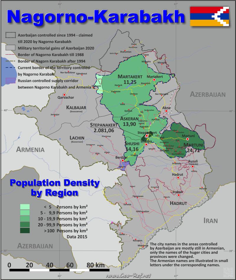 Bergkarabach Karte Bevolkerungsdichte Und Verwaltungsgliederung