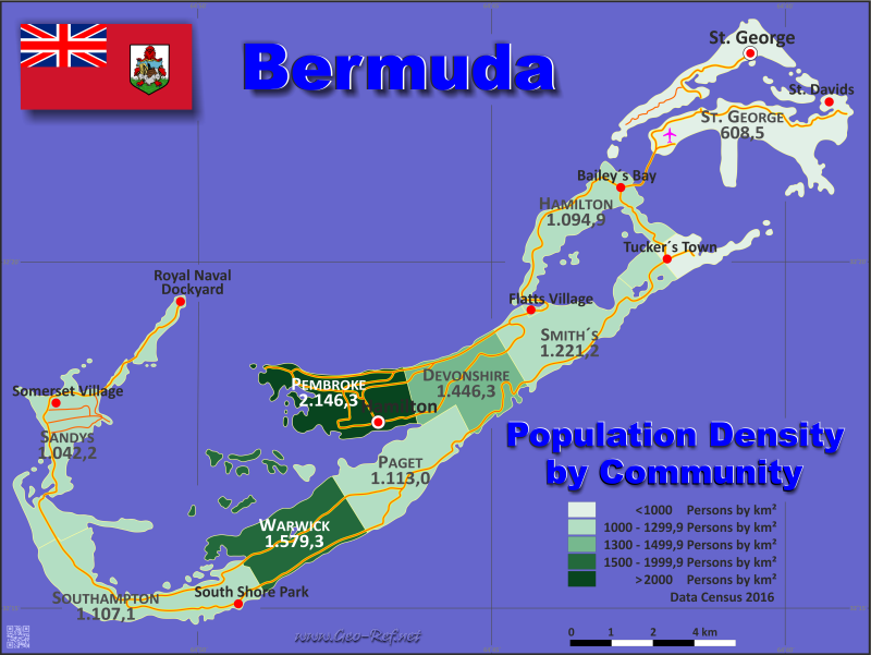 Bermuda Country data, links and map by administrative structure