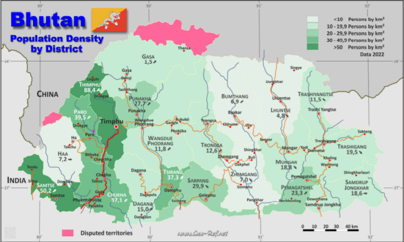 Map Bhutan - Administrative division - Population density 2019