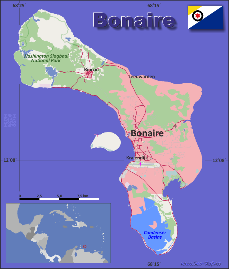 Map Bonaire - Administrative division - Population density 2020