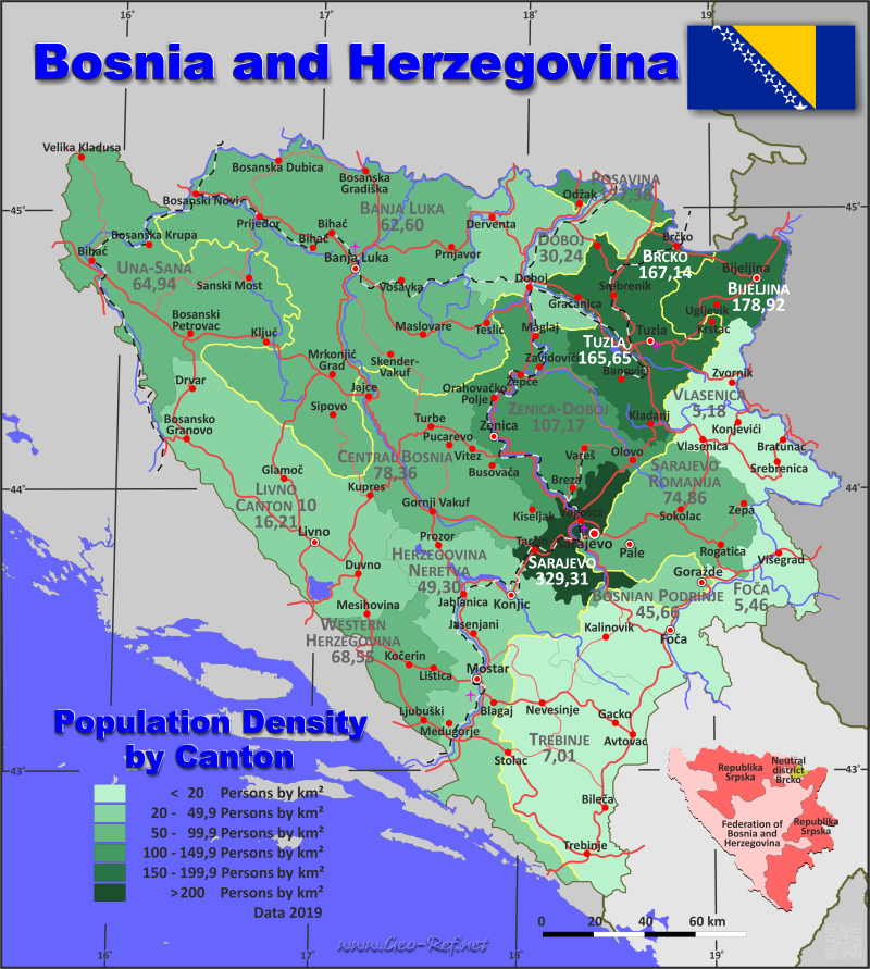 Map Bosnia & Herzegovina - Population density