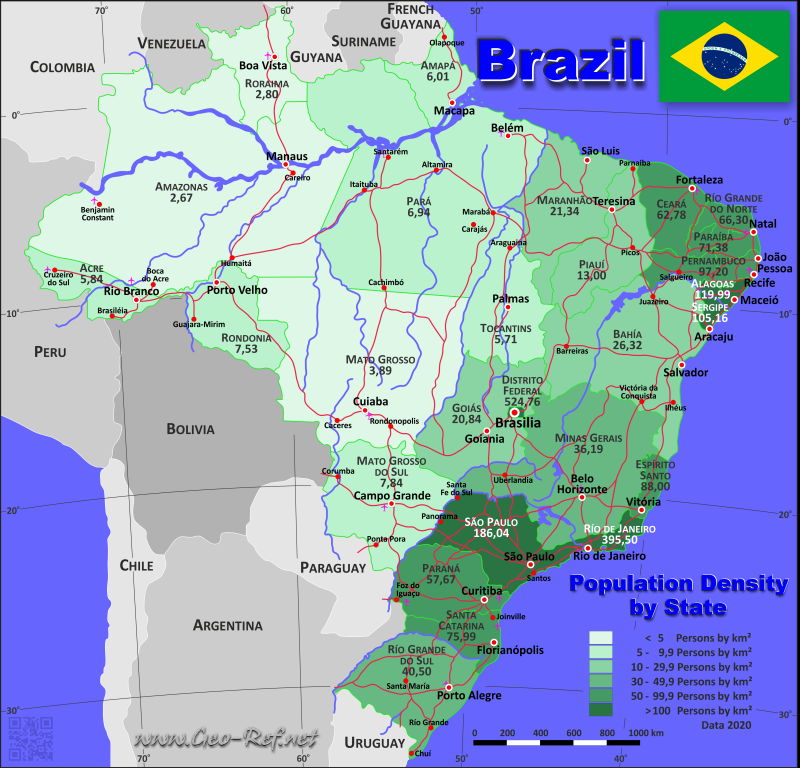 Brazil Country data, links and map by administrative structure