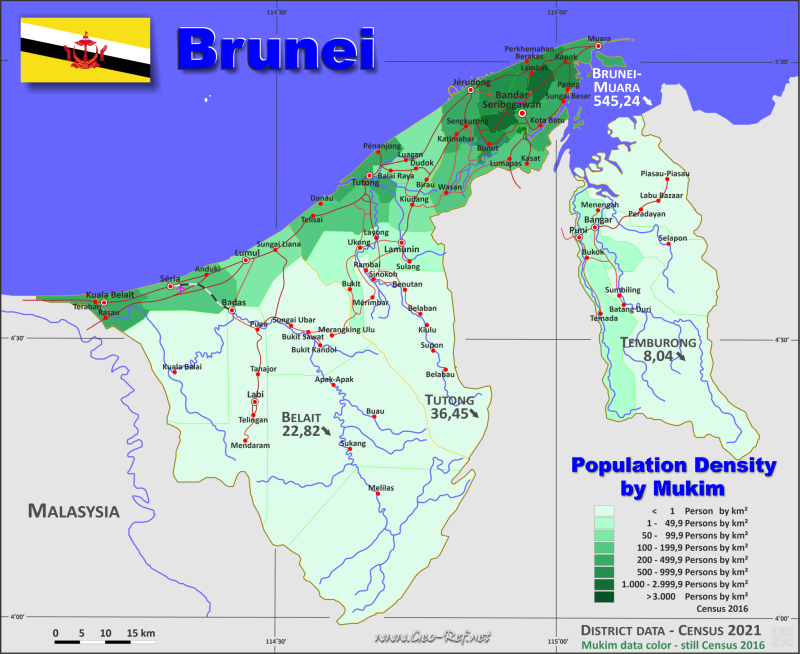 Brunei Country data links and maps of the population density by