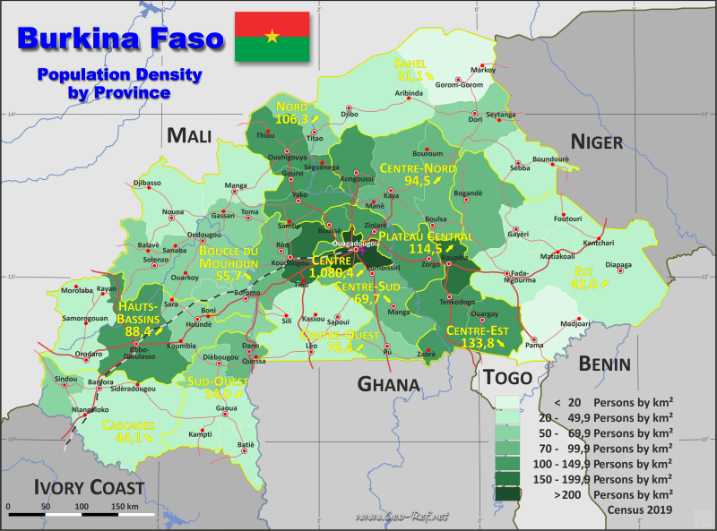Map Burkina Faso - Administrative division - Population density 2019