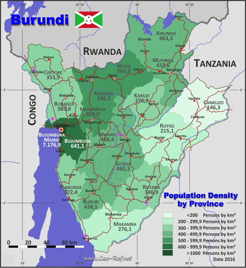 Burundi Country Data Links And Maps Of The Population Density By - bujumbura map