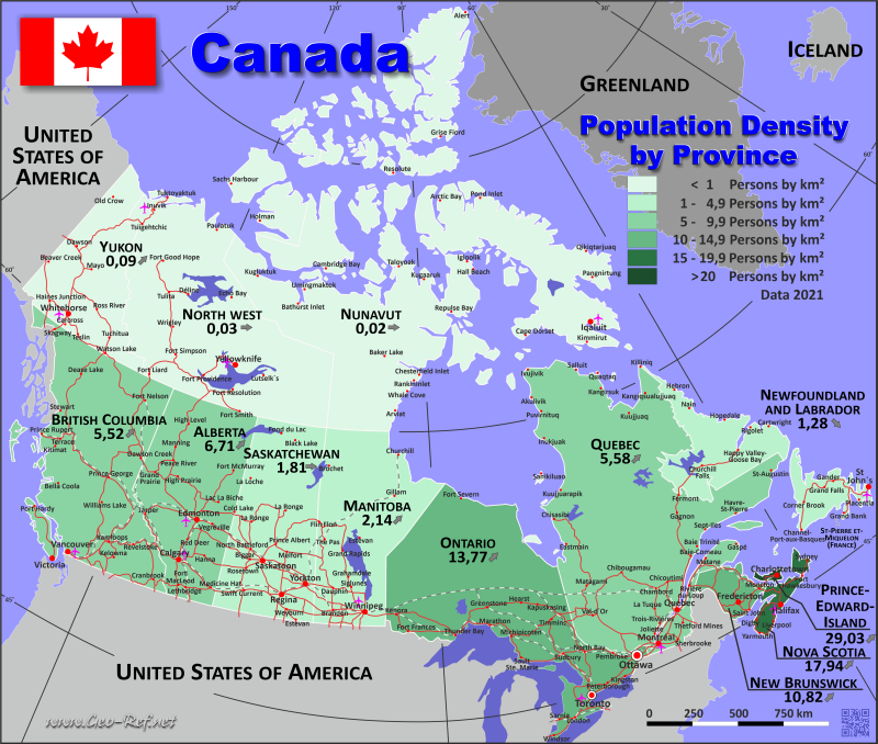 Canada Country data links and maps of the population density by