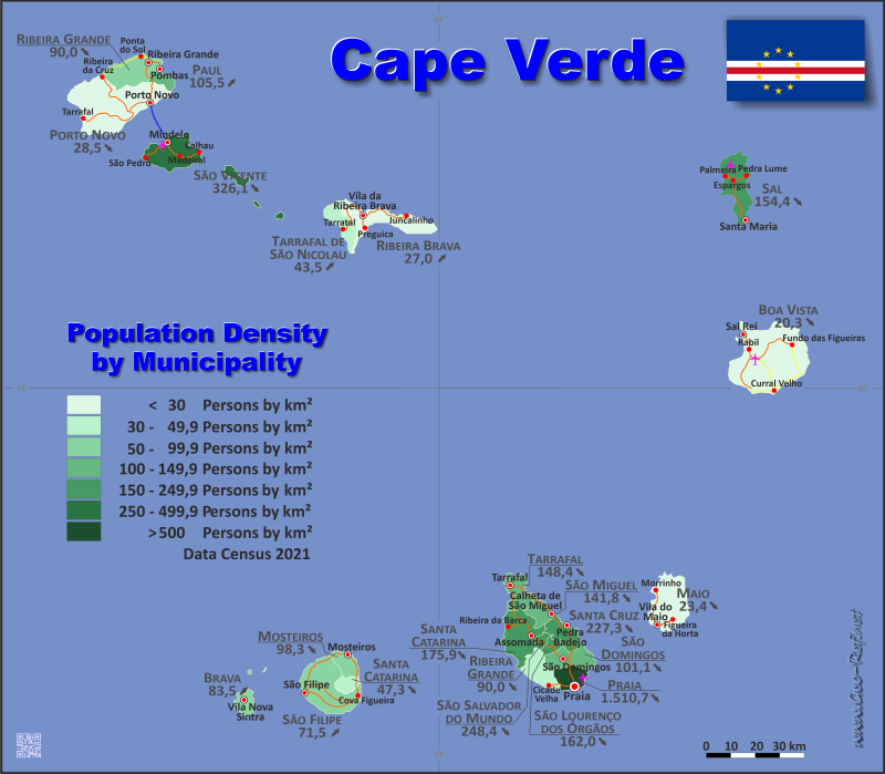 Map Cape Verde - Administrative division - Population density 2019