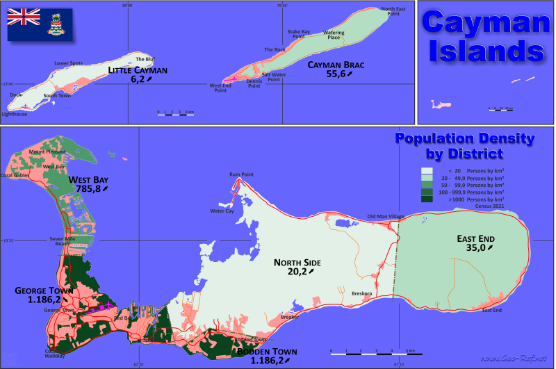 Map Cayman Islands - Administrative division - Population density 2019