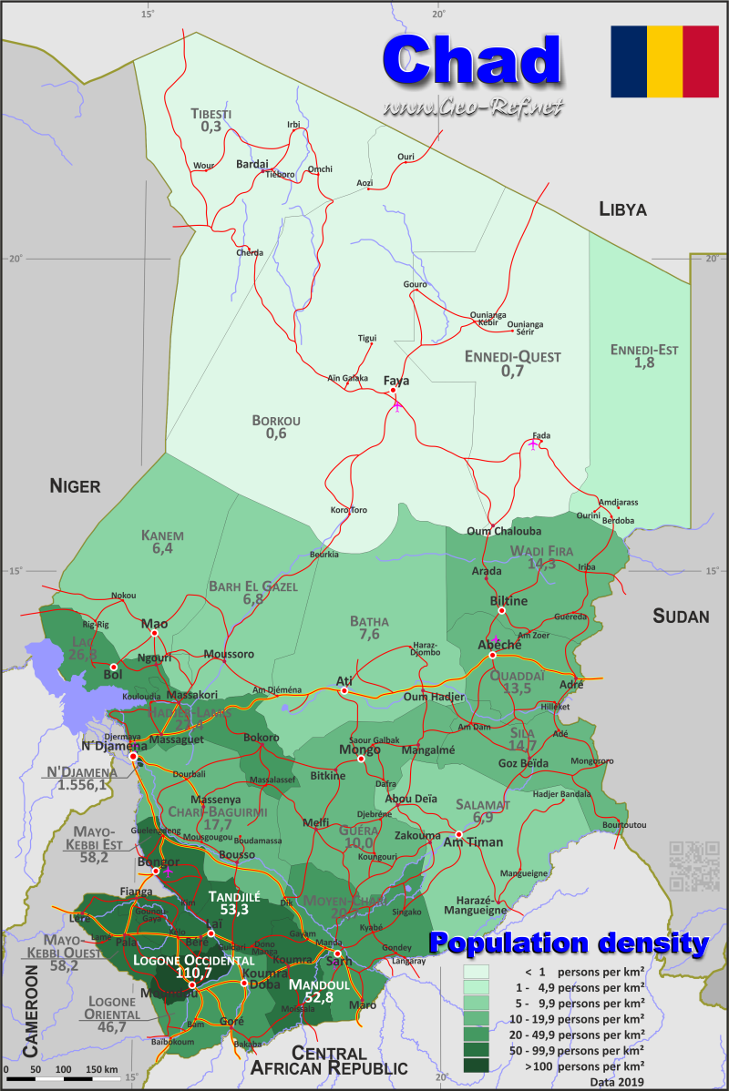 Map Chad - Administrative division - Population density 2019