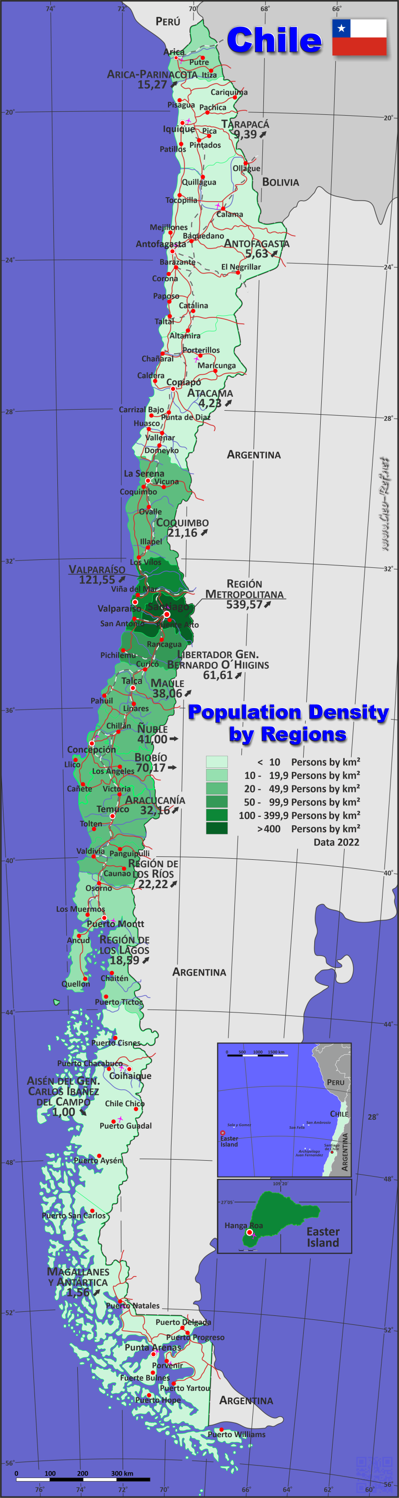 Chile Country data links and maps of the population density by
