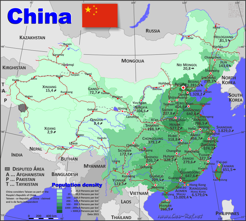 Map China - Population density