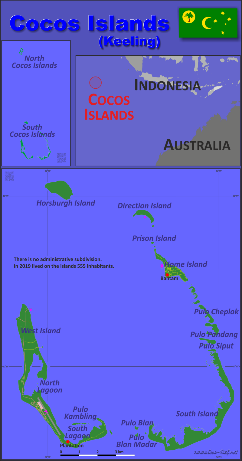 Map Cocos (Keeling) Islands - Administrative division - Population density 2018