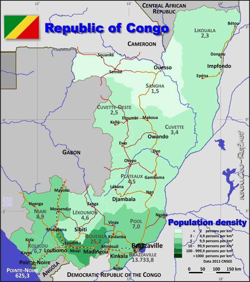 Map Congo Brazaville Popultion density by administrative division