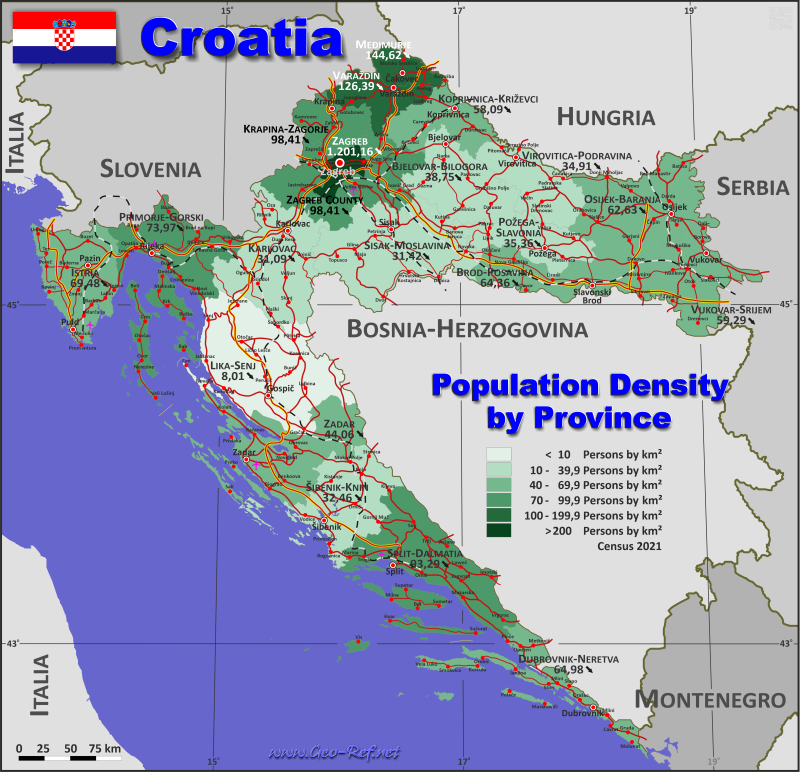 Croatia country data links and maps of the population density by map croatia population density publicscrutiny Images