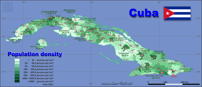 Map Cuba - Population density