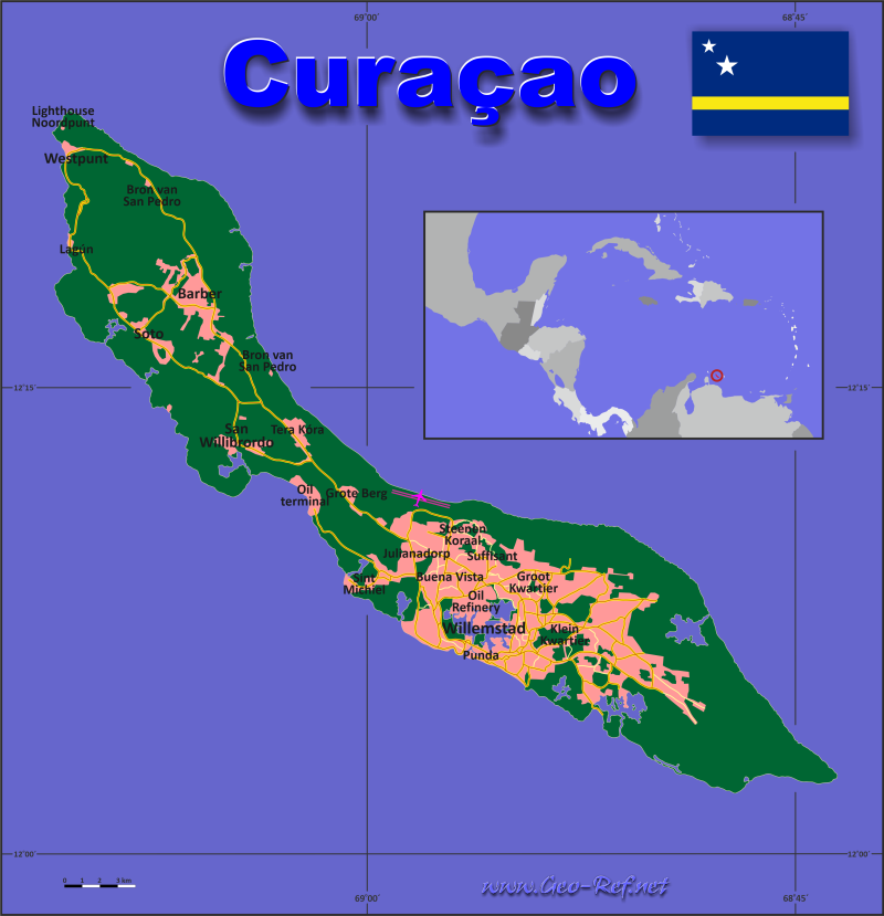 Map Curaçao - Administrative division - Population density 2020