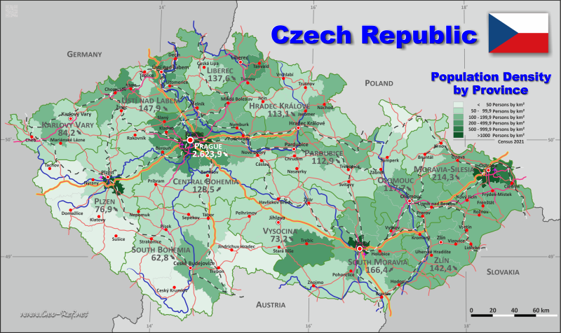 Map Czech Republic - Administrative division - Population density 2020