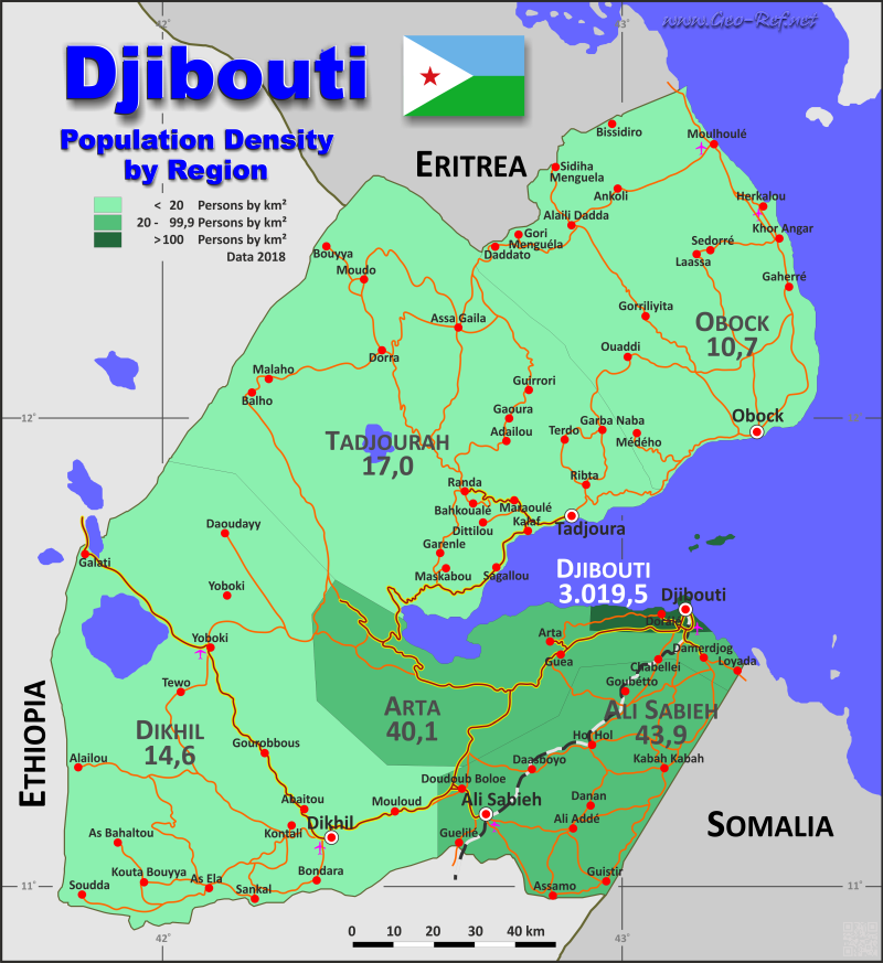 Map Djibouti - Population density