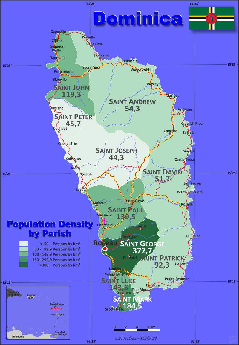 Map Dominica - Population density