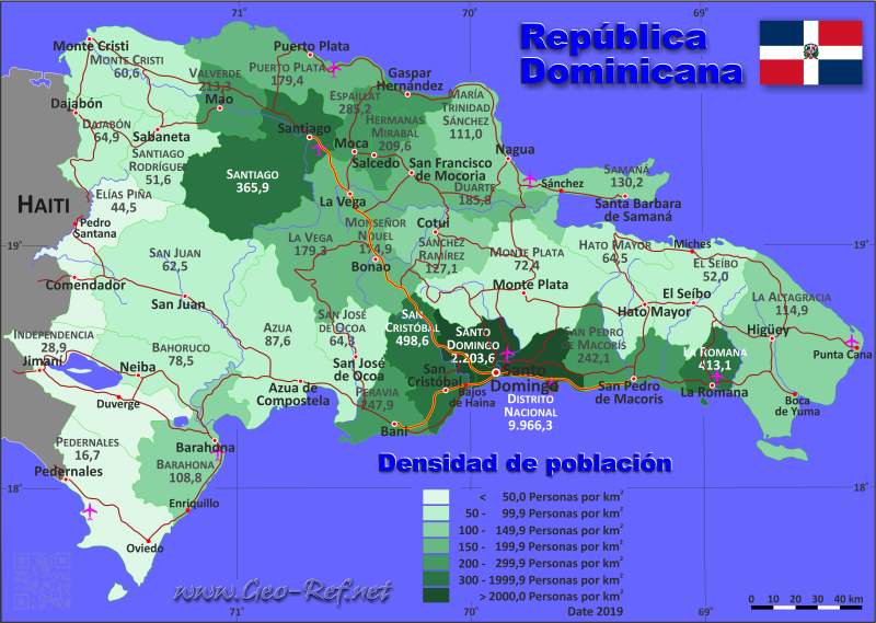 Map Dominican Republic - Administrative division - Population density 2019