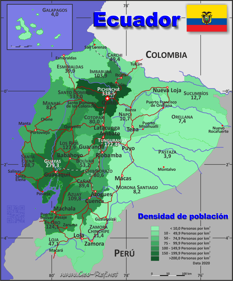 Ecuador country data links and maps of the population density by map ecuador population density gumiabroncs Choice Image