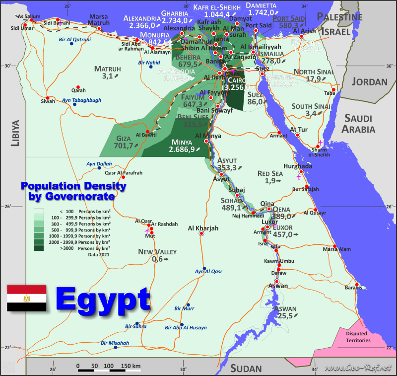 Map Egypt - Population density