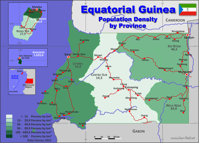 Map Guinea Equatorial Popultion density by administrative division