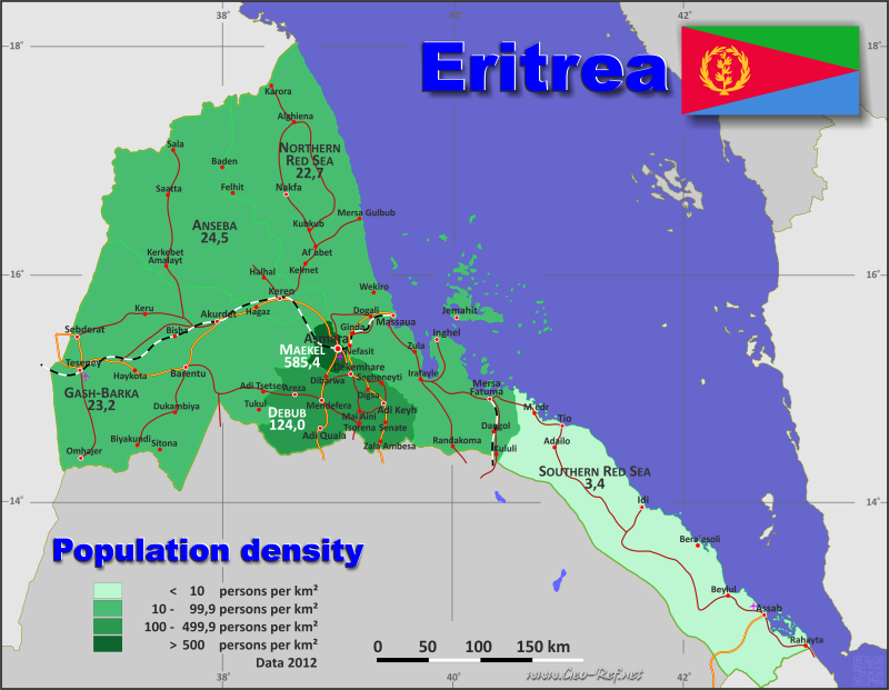 Map Eritrea Popultion Density By Administrative Division - Eritrea map hd pdf