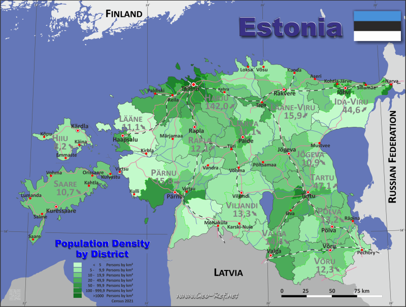 Estonia country data links and maps of the population density by country map population density gumiabroncs Gallery