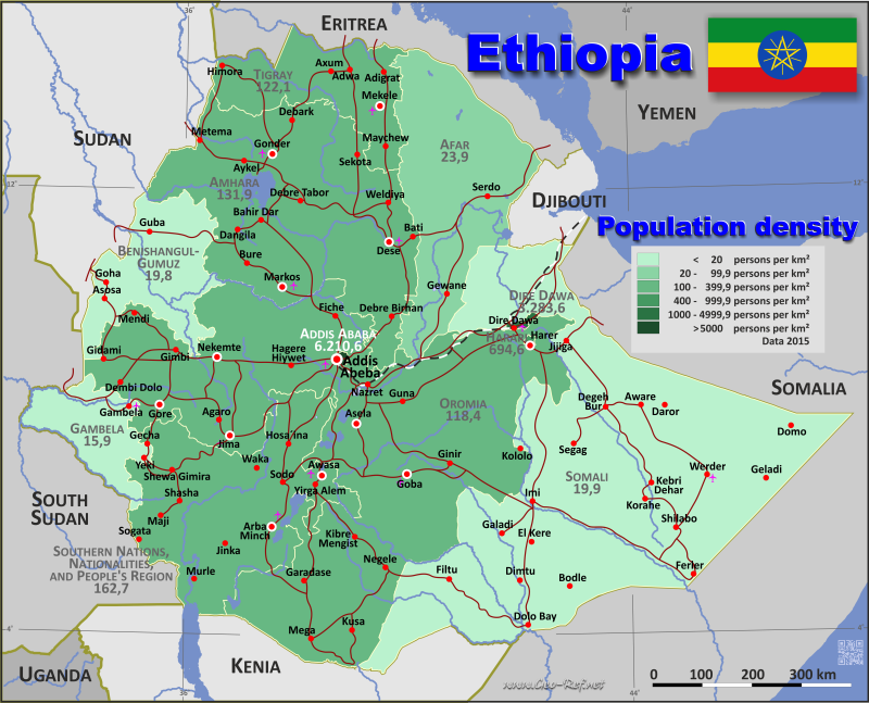 Ethiopia Country data links and maps of the population density by